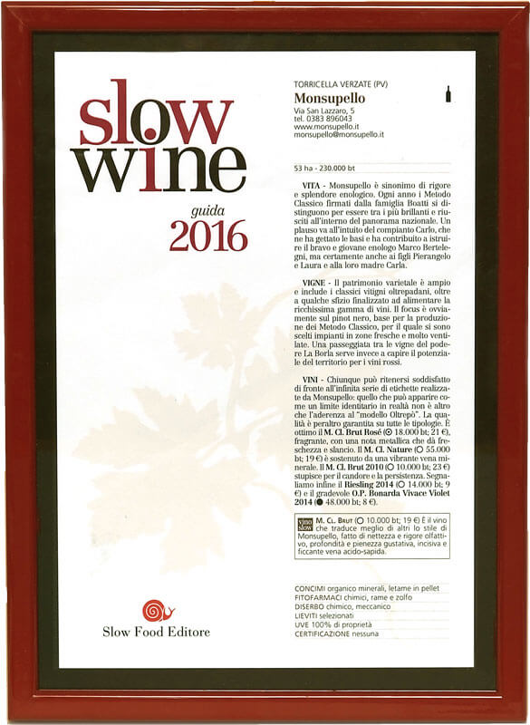 MONSUPELLO Slow Wine 2016